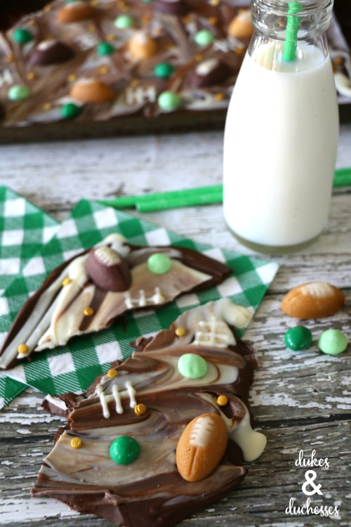 chocolate bark with football candies