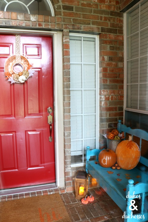 colorful fall patio decor