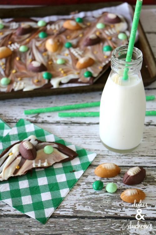 football candy bark for a tailgate party