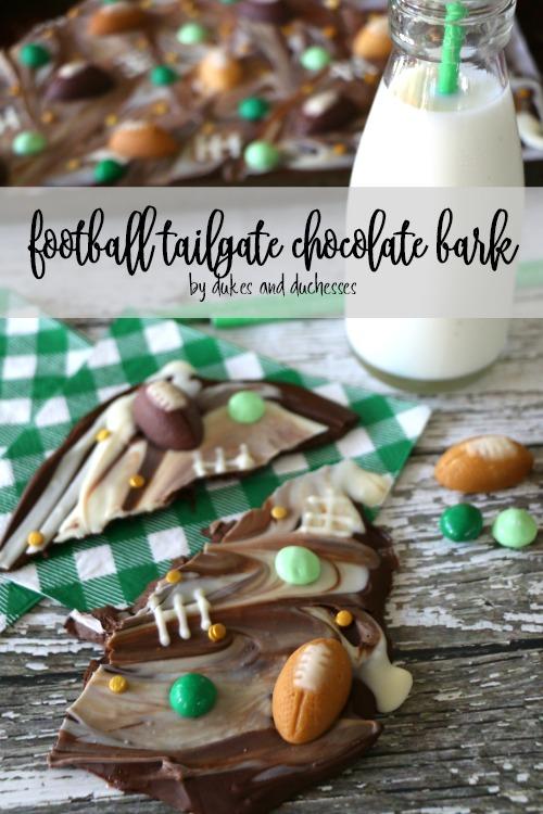 football tailgate chocolate bark