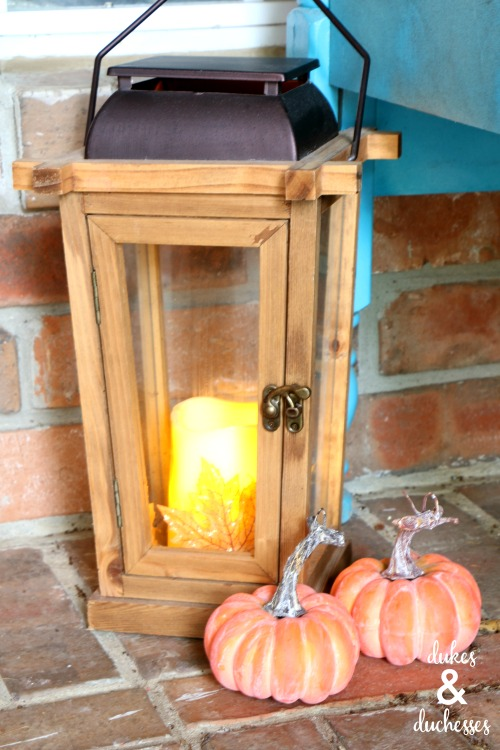 lantern on fall porch