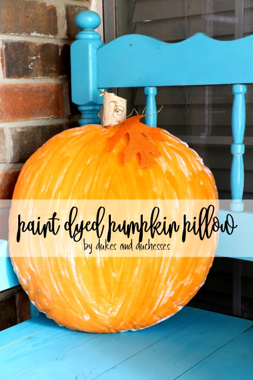 paint dyed pumpkin pillow