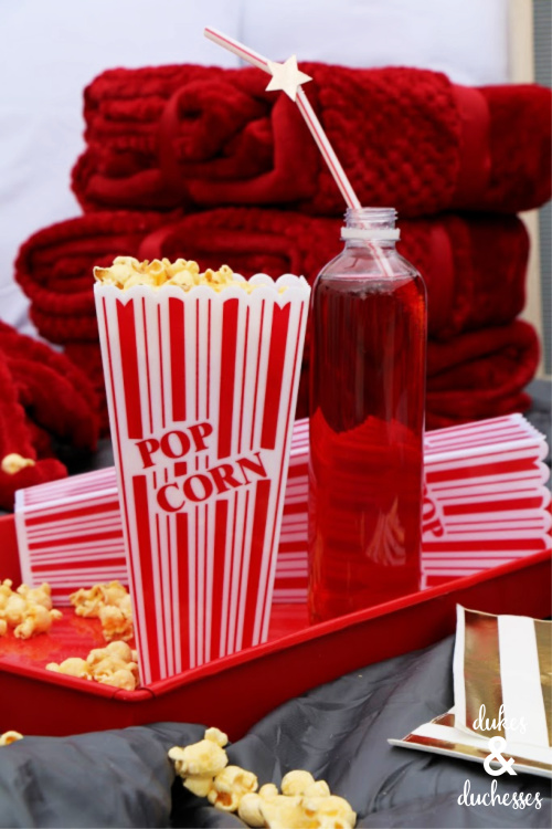 popcorn and drinks at drive in movie party