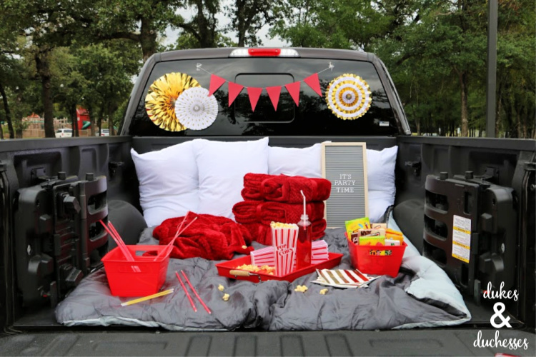 red and gold drive in movie party