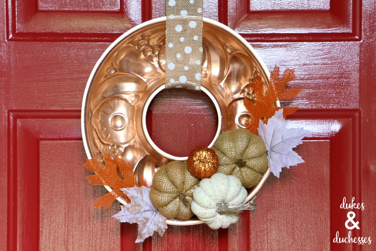upcycled copper mold fall wreath