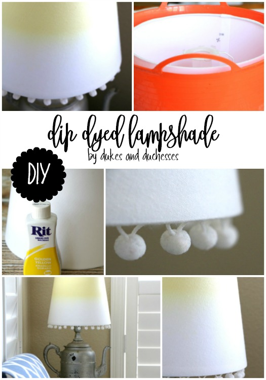 DIY dip dyed lampshade with pom pom trim