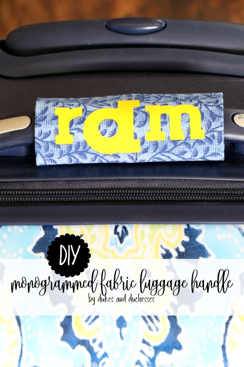 DIY monogrammed fabric luggage handle