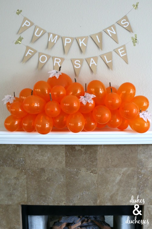 balloon pumpkin patch halloween mantel