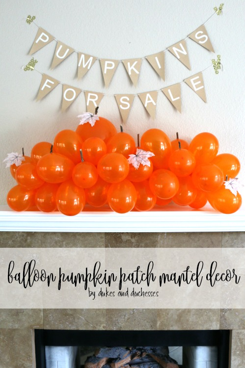 balloon pumpkin patch mantel decor