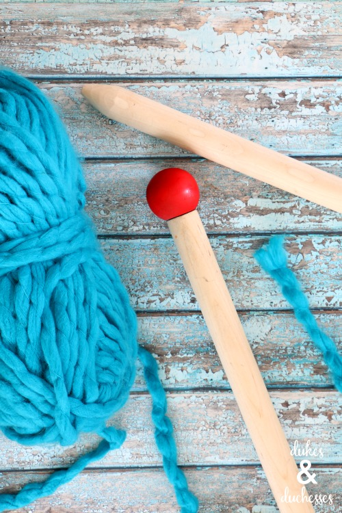how to make DIY knitting needles for jumbo knits