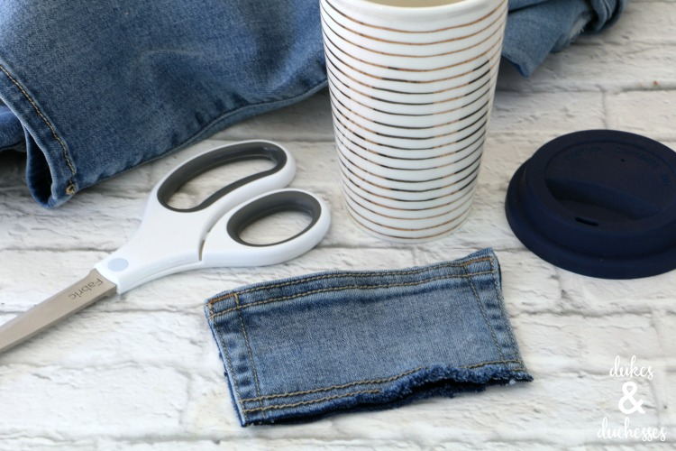 how to make a coffee cuff from old jeans pocket