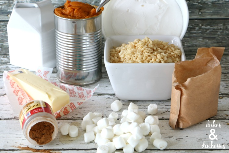 ingredients for pumpkin pie with rice krispies treat crust