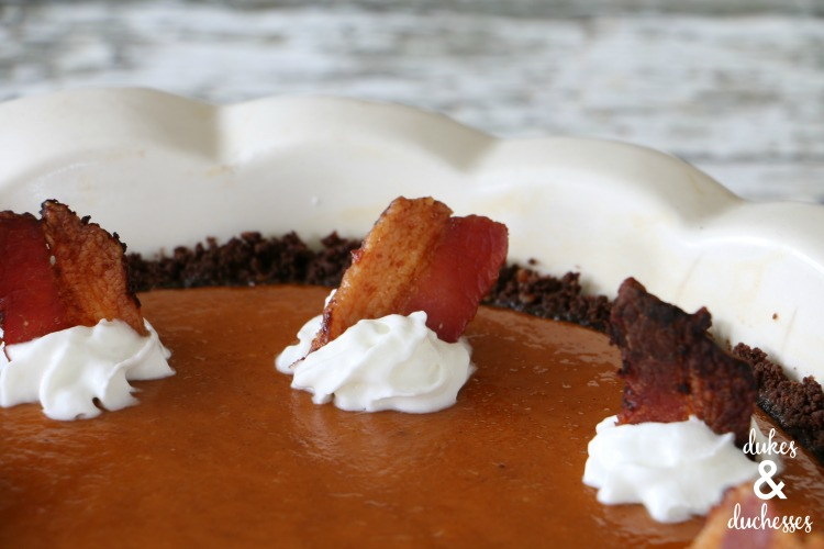 maple bacon garnish on maple bacon pumpkin pie