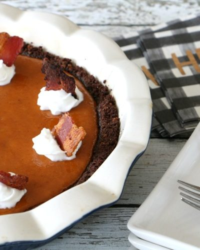 Maple Pumpkin Pie with Chocolate Maple Bacon Crust