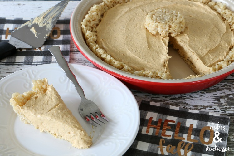 no bake pumpkin pie with rice krispie treat crust for thanksgiving