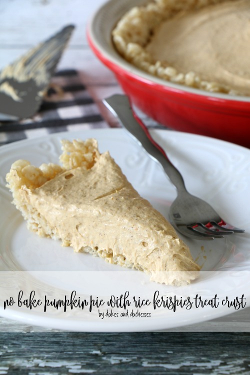 no bake pumpkin pie with rice krispies treat crust