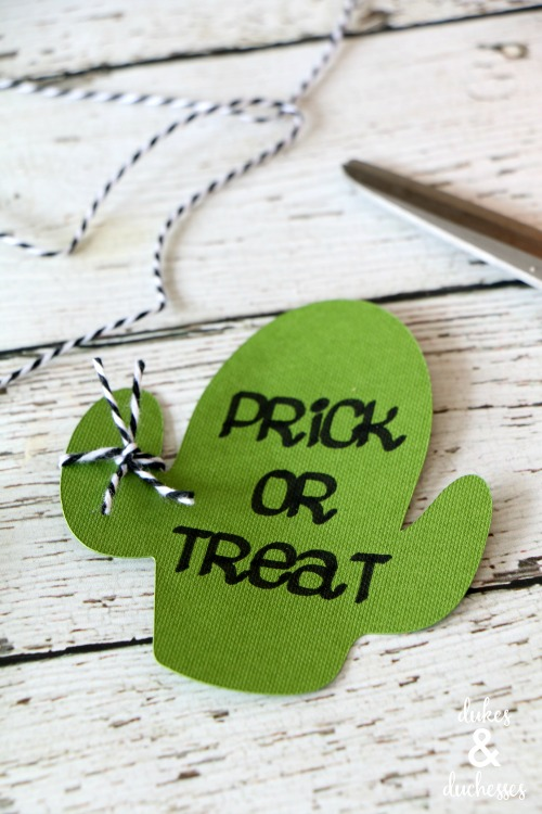 prick or treat gift tag with twine