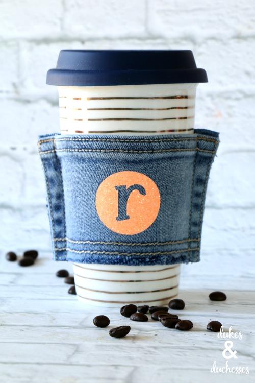 recycled denim coffee cuff