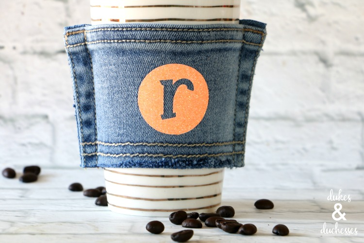 repurposed monogrammed jeans pocket coffee cuff