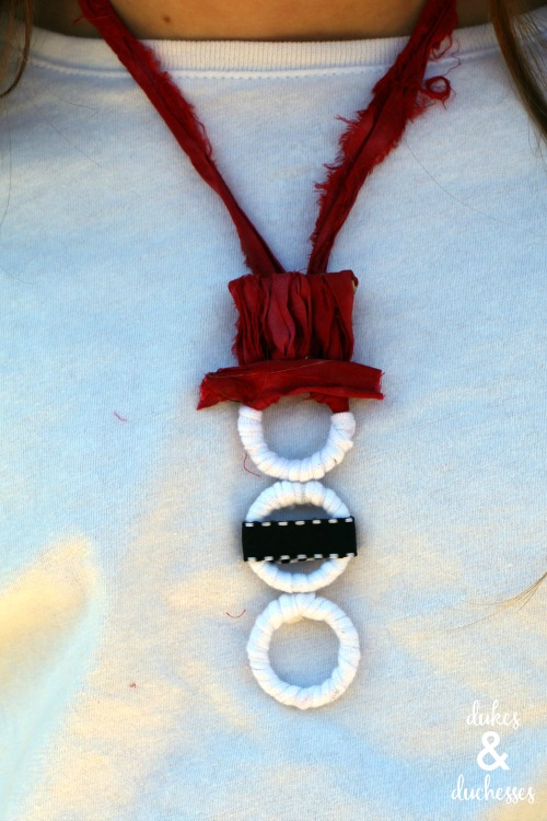 snowman yarn necklace holiday craft for kids