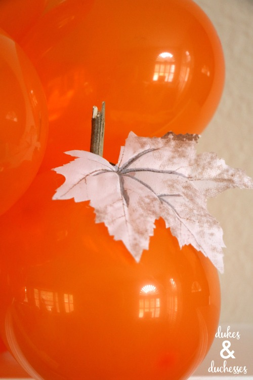 stems and leaves on balloon pumpkins