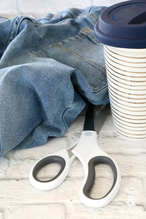 supplies for upcycled denim coffee cuff
