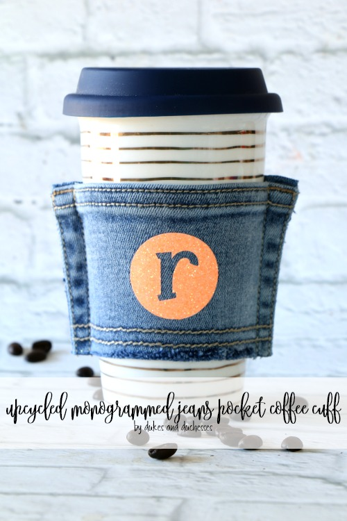 upcycled monogrammed jeans pocket coffee cuff
