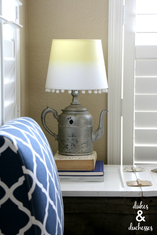 vintage coffee pot lamp with dip dyed lampshade