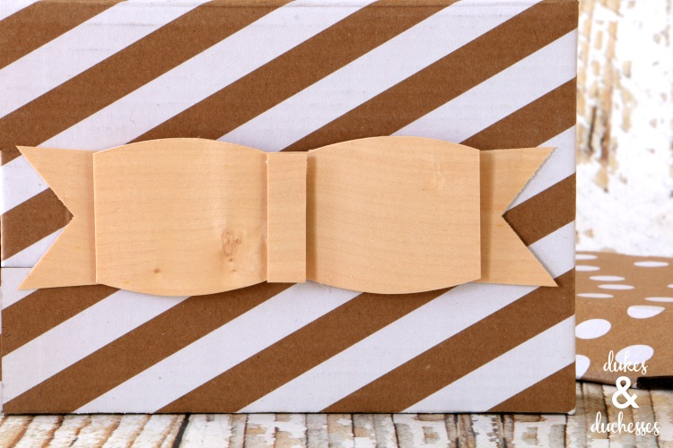 balsa wood bow on gift
