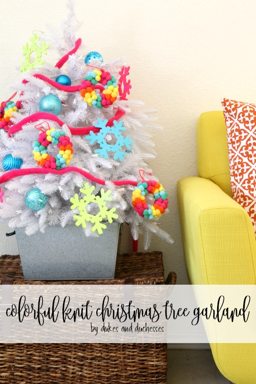 colorful knit christmas tree garland