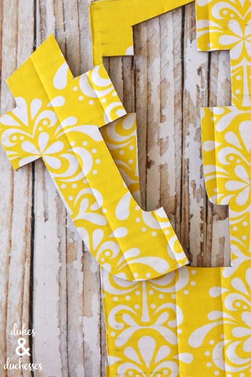 DIY corrugated cardboard monogram