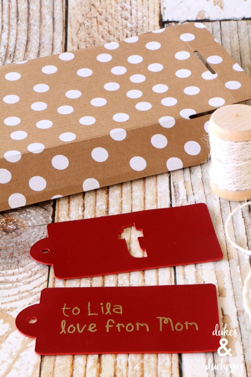 DIY leather gift tags made with cricut maker