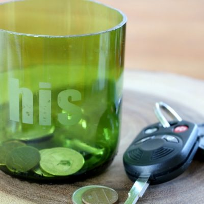 DIY Upcycled Glass Catchall Trinket Dish for Men