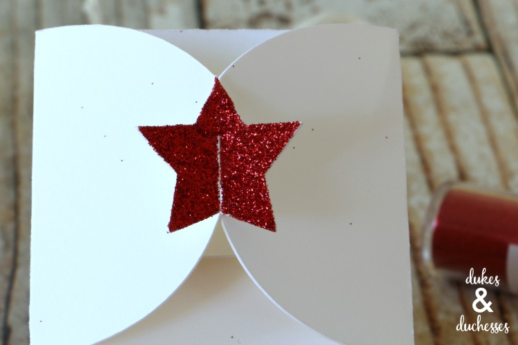 glitter star closure on gift box