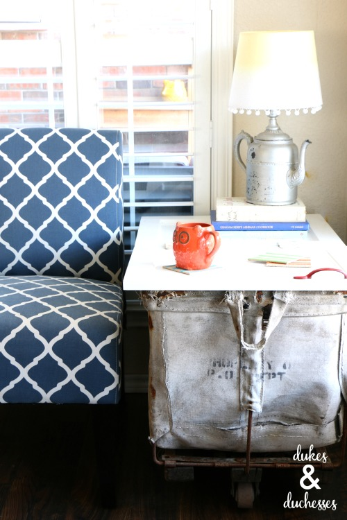 mail cart table with cabinet door tabletop