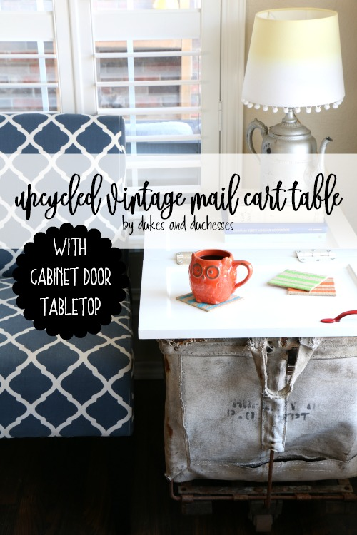 upcycled vintage mail cart table with cabinet door tabletop