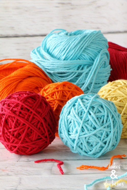 colorful yarn ball garland home decor
