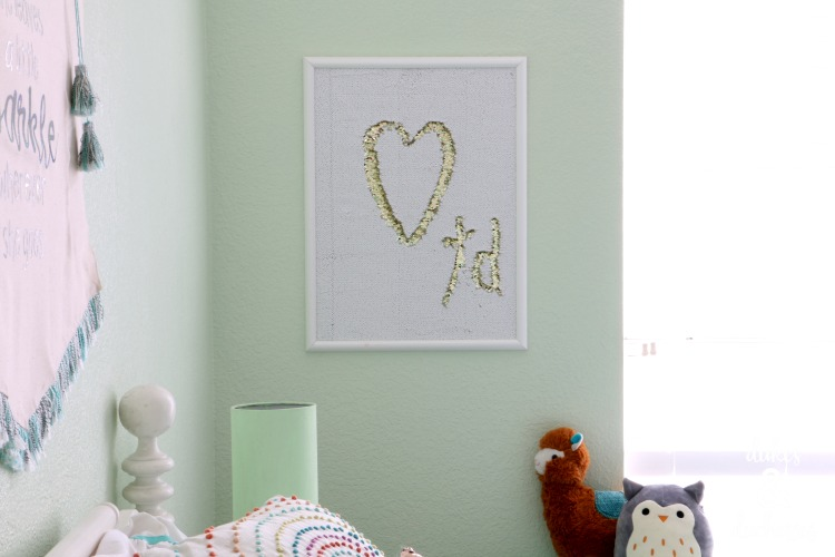 DIY mermaid sequin fabric wall art