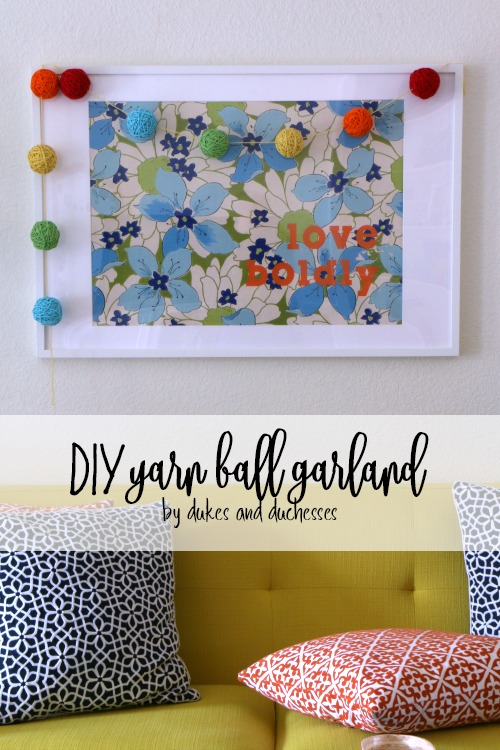 DIY yarn ball garland