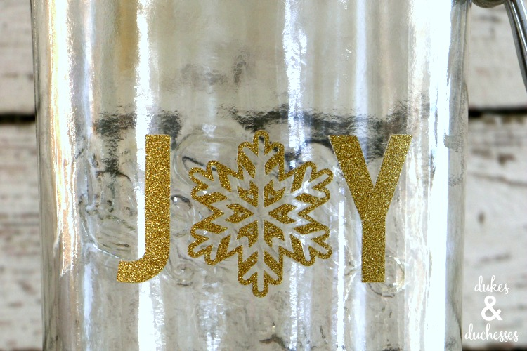 glitter joy vinyl on mason jar gift