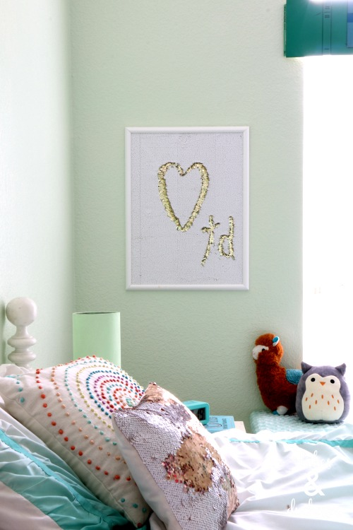 mermaid sequin wall art for girls