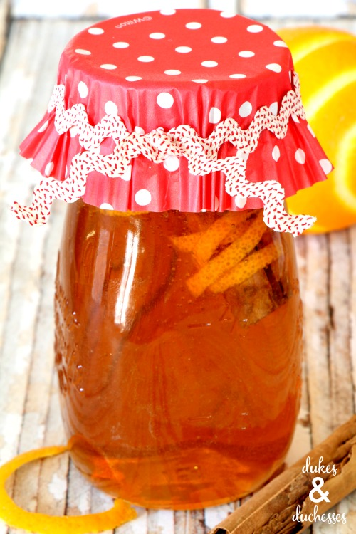 orange cinnamon infused honey gift idea