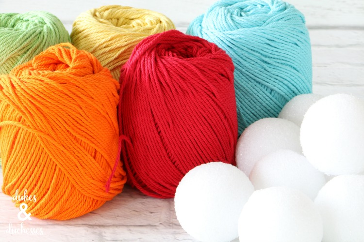 yarn and styrofoam balls for garland