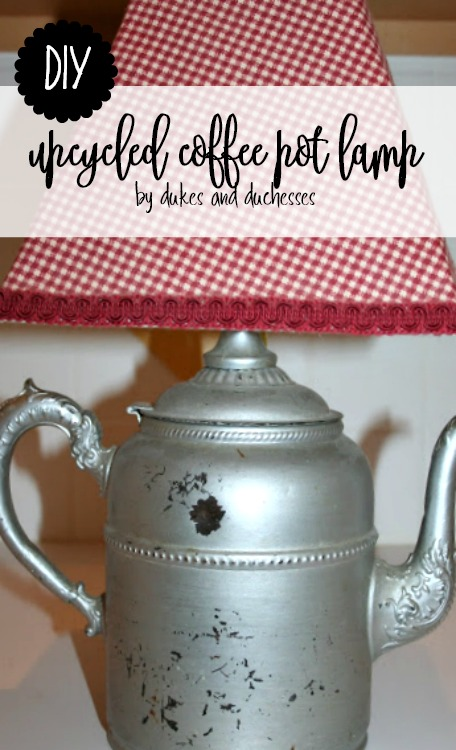 diy upcycled coffee pot lamp
