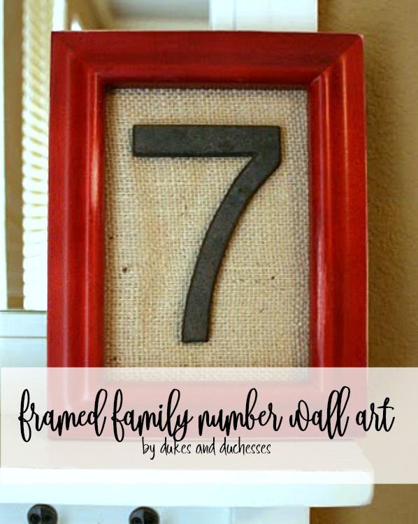 Framed family number wall art