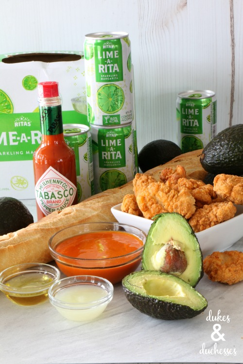 ingredients for buffalo chicken avocado toast bites