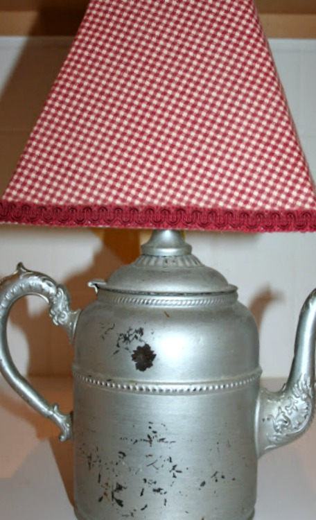 repurposed coffee pot lamp