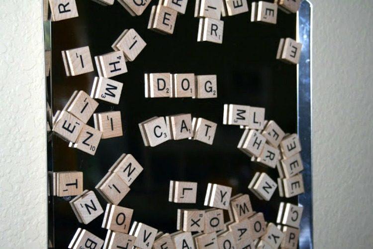 Scrabble tile letter board for kids