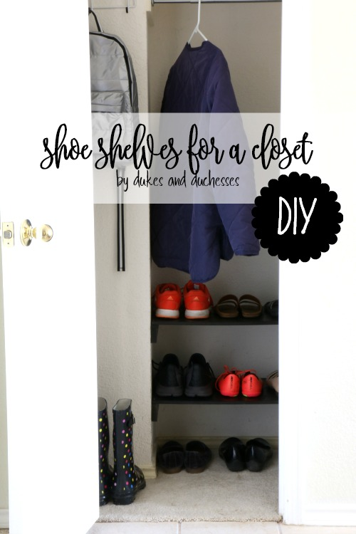 DIY shoe shelves for a closet