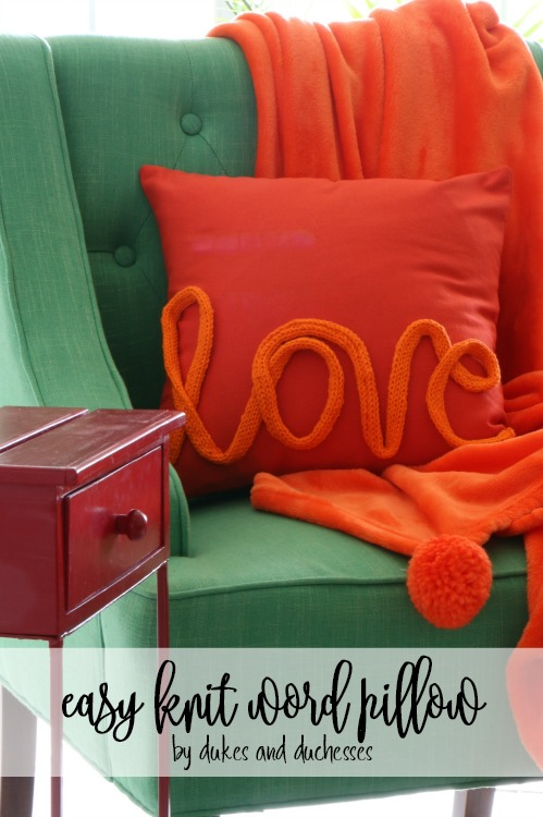 easy knit word pillow